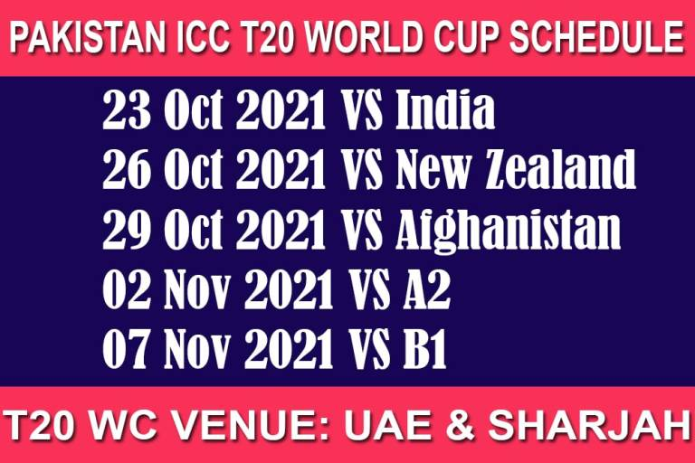 Pakistan T20 World Cup 2021 Schedule and Match