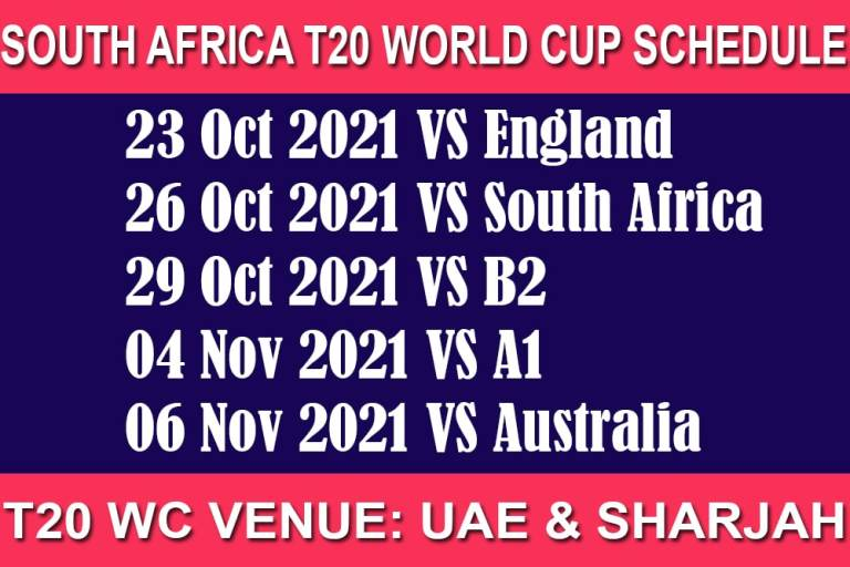 South Africa T20 World Cup 2021 Schedule
